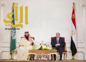 ولي العهد والرئيس المصري يشهدان توقيع ثلاث اتفاقيات ومذكرة تفاهم استثمارية