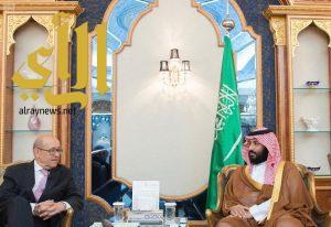 سمو ولي العهد يجتمع مع وزير أوروبا والشؤون الخارجية الفرنسي