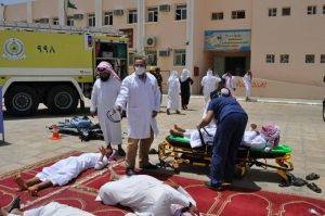 مدني طريب ينفذ فرضية حريق في إحدى مدارس المحافظة