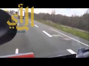 بالفيديو .. سائق هنغاري يحاول دهس لاجئين بشاحنته