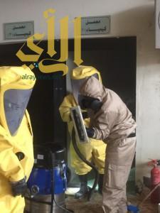 تسربات كيميائية لمختبر الجامعة بالباحة