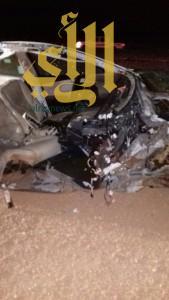 تفحّم شخصين وإصابة آخر بحادث مروع على طريق جريش بتيماء