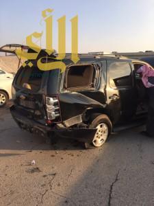 إصابة شخص نتيجة حادث سير على طريق ابو حدرية مع الملك سعود