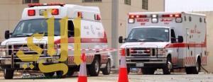 ثلاث فرق إسعافية تباشر إسعاف ثلاث مصابين على طريق خوعا