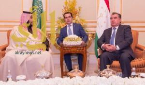 ولي ولي العهد يبحث مع رئيس طاجيكستان فرص التعاون الثنائي