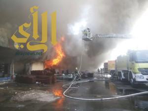 مدني جدة يباشر حريقاً في محلات سوق الأمير متعب