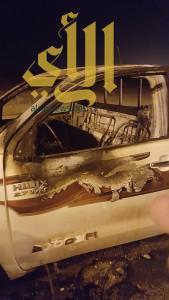 """احتراق مفاجئ لسيارة مواطن بمحافظة """" تثليث """""""