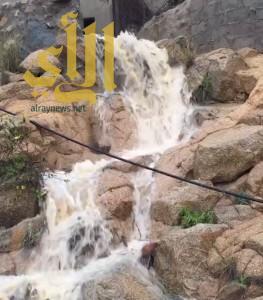 بالفيديو .. أمطار بلقرن تجذب الشباب لتوثيقها