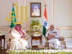 سمو ولي العهد يلتقي رئيس الوزراء الهندي