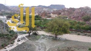 بالفيديو .. أمطار غزيرة تسيل الأوديه في بلقرن وتجرف مركبة مواطن