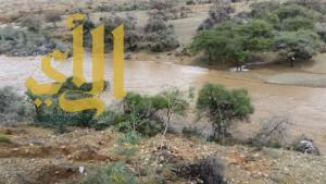 بالصور ..الأمطار تتواصل على البشائر وخثعم وشواص شمال عسير