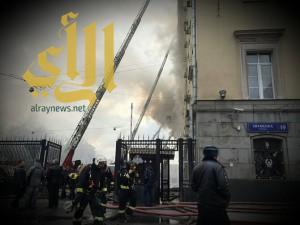 اندلاع حريق في أحد مباني وزارة الدفاع الروسية في موسكو