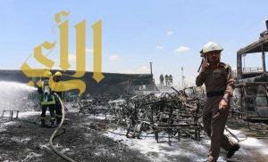 فرق الدفاع المدني بالعاصمة المقدسة تسيطر على حريق شبّ في 9 باصات