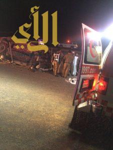 7 إصابات ووفاتين بحادث عائلة بغرب القصيم