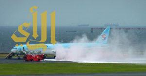 إخلاء طائرة كورية بعد اشتعال النار في محركها بمطار طوكيو
