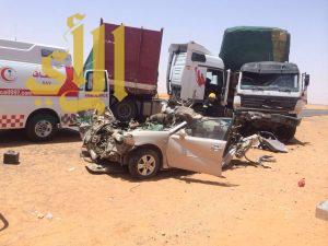 مصرع شخص وإصابة إثنين بحادث مروري مروع بمشاريع بسيطا بالجوف