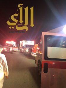 6 إصابات متفاوتة بحادث مروري مقابل قصور آل مقبل على طريق الرياض مكة