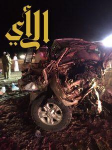 مصرع ٩ وإصابة ٣ في حادث تصادم على طريق حائل المدينة