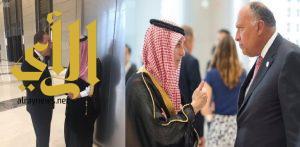 وزير الخارجية يعقد لقاءً ثنائيا مع الأمين العام للأمم المتحدة ووزير الخارجية المصري