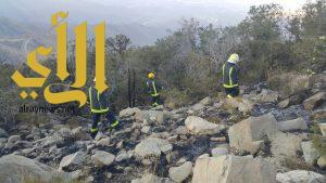 مدني النماص يخمد حريق في غابات آل حسيكة شمال المحافظة