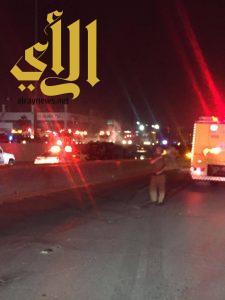 مصرع أربعة أشخاص وإصابة شخصين بحادث مروري على طريق خريص بالرياض