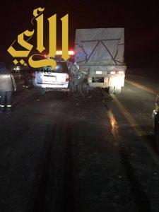 مصرع شخصين وإصابة آخرين بحادث عائلة على طريق الرياض القصيم