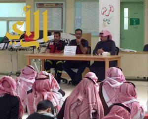 الهلال الأحمر بالجوف يحاضر بثانوية الشيخ إبن باز بالأضارع