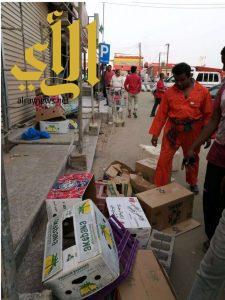 بلدية بيش تنفذ إزالة اكبر بسطة بيع الخضروات تديرها عمالة وافدة
