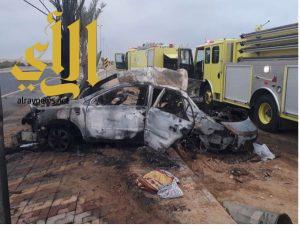 تفحم شقيقتان وإصابة قائد مركبتهم بحادث مروري بمركز سعيدة الصوالحة