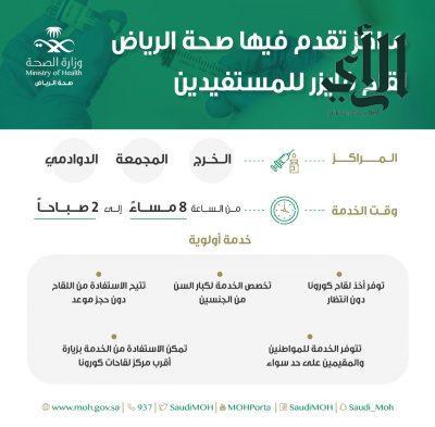 """"""" #صحة_الرياض """" تواصل تقديم خدماتها للمستفيدين في مراكز اللقاح المعتمدة للقاح فايزر في #الخرج و #المجمعة و #الدوادمي"""