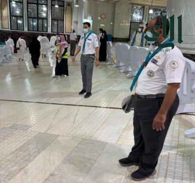 كشافة #تعليم_مكة يواصلون أعمالهم التطوعية في العشر الأواخر بالمسجد الحرام في مواقع جديدة