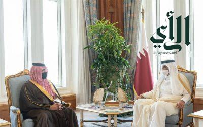 أمير قطر يستقبل وزير الداخلية الأمير عبدالعزيز بن سعود بن نايف
