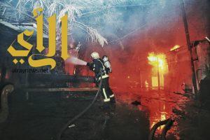 مدني المقدسة يسيطر على حريق في مجموعة بركسات بحي أم الجود