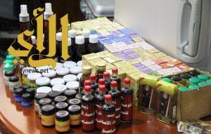 بلدية النعيرية: مصادرة 181 نوع مختلف من الزيوت والمواد الأخرى بأحد محلات العطارة