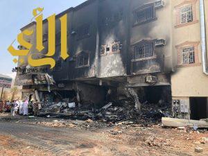 حريق بمبنى تجاري بحي مراطه والدفاع المدني يباشر الحالة