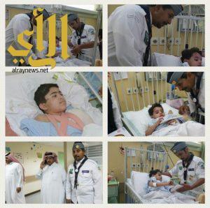 رواد كشافة المجمعة يطمئنون على الاطفال الايتام بمستشفي المجمعة