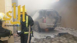 مدني المزاحمية يخمد حريق مركبة في فناء منزل