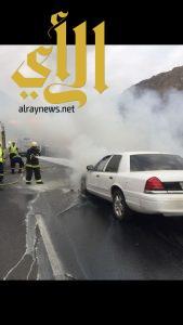 مدني أبها يخمد حريق سيارة في طريق العقبة