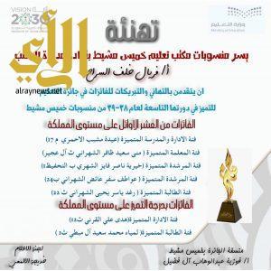 خمس معلمات وطالبتين من تعليم خميس مشيط يفزن بجائزة التميز على مستوى المملكة
