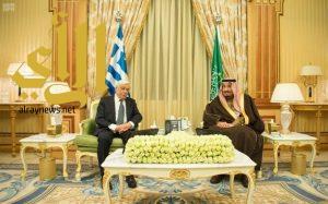 خادم الحرمين يعقد جلسة مباحثات رسمية مع الرئيس اليوناني