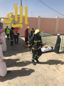 مدني محافظة طريب ينفذ فرضية السلامة المدرسية بإبتدائية المضمار بالحفاير