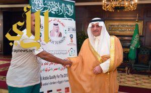أمير تبوك يعطي الرحالة السعودي مخلد العتيبي إشارة البدء الى روسيا
